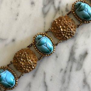 Vintage Floral Faux Turquoise Scarab Bracelet